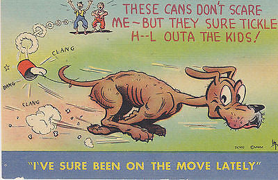 """I've Sure Been On The Move Lately"" Linen Comic Postacrd - Cakcollectibles - 1"