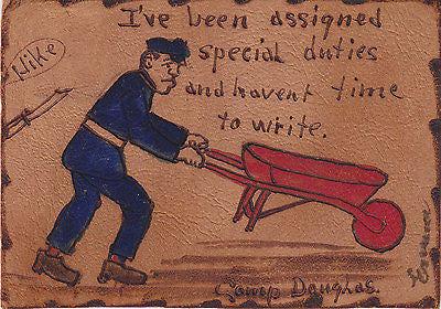 """I've Been Assigned Special Duties"" Comic Leather Postcard - Cakcollectibles - 1"