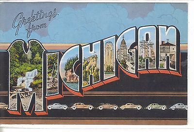 Large Letter Linen Post Card-Michigan - Cakcollectibles