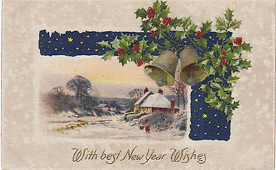 """With Best New Year Wishes"" Holly-Bells John Winsch Postcard - Cakcollectibles - 1"