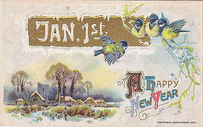 A Happy New Year Wintery Scenic Wishes John Winsch Postcard - Cakcollectibles