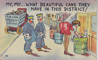 """My, My What Beautiful Cans"" Linen Comic Postcard - Cakcollectibles - 1"