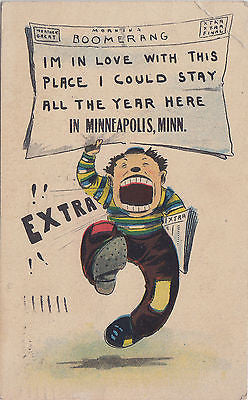 Extra ! I Am In Love With This Place Minneapolis Comic Postcard - Cakcollectibles