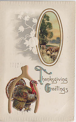 Thanksgiving Greetings Turkey Wishbone Cows Drinking At Creek Holiday Postcard - Cakcollectibles - 1