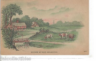 Early Post Card-Scenes of Our Childhood-Cows - Cakcollectibles
