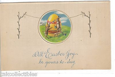 All Easter Joy be Yours-Rabbits Painting an Egg - Cakcollectibles - 1