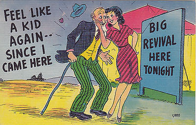 Big Revival Here Tonight Feel Like A Kid Again Comic Postcard - Cakcollectibles