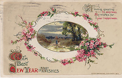 """Loving New Year Wishes"" John Winsch Postcard - Cakcollectibles - 1"