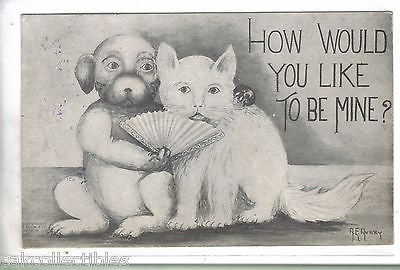 """How Would You Like to Be Mine?""-Cat and Dog with Fan 1910 - Cakcollectibles"