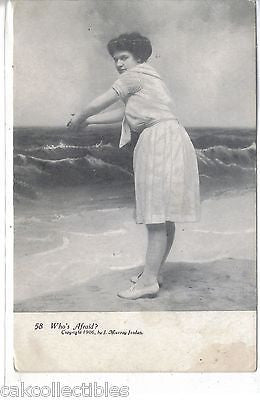 """Who's Afraid""-Woman in Swimsuit 1906 - Cakcollectibles - 1"
