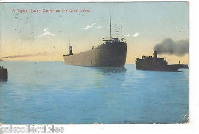 A Typical Cargo Carrier on the Great Lakes 1907 - Cakcollectibles