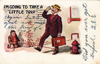I'm Going To Take A Little Trip Comic Postcard - Cakcollectibles