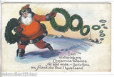 Santa with Wreaths Christmas Post Card - Cakcollectibles - 1