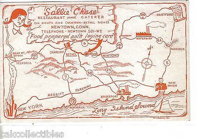 Sallie Chase Restaurant and Caterer-Newtown,Connecticut (Map Post Card) - Cakcollectibles - 1