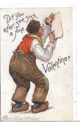 Valentine Post Card-Dutch Man - Cakcollectibles - 1