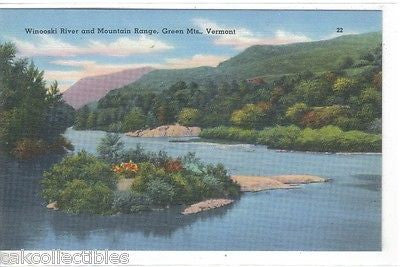Winooski River and Mountain Range-Green Mts.-Vermont - Cakcollectibles