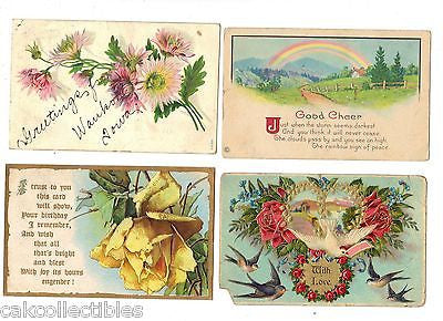 Lot of 4 Antique Greetings Post Cards-Lot 25 - Cakcollectibles - 1