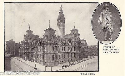 City Hall and Statue of William Penn-Philadelphia,Pennsylvania 1912 - Cakcollectibles
