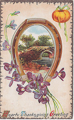 Hearty Thanksgiving Greeting  Horseshoe Pumpking Bridge Scene Postcard - Cakcollectibles - 1