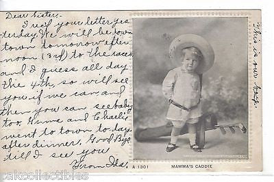 """Mamma's Caddie""-Little Girl with Golf Bag and Clubs 1907 - Cakcollectibles - 1"