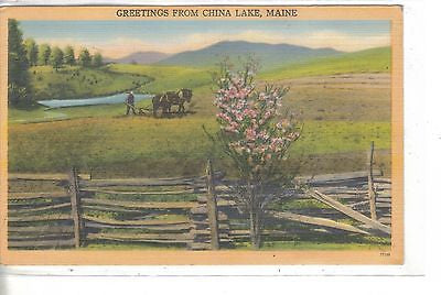 Greetings from China Lake,Maine-Linen Post Card 1949 - Cakcollectibles