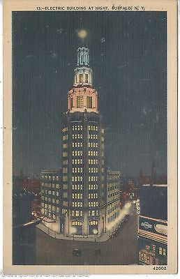 Electric Building at Night-Buffalo,New York 1940 - Cakcollectibles