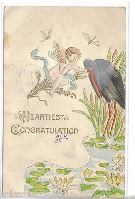 Fantasy Post Card-Heartiest Congratulation-Child with Wings and Stork 1907 - Cakcollectibles - 1