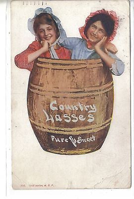 Country Lasses-Pure and Sweet-2 Girls in A Barrel 1908 Postcard Front