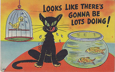 """Looks Like There's Gonna Be Lots Doing!"" Linen Comic Postcard - Cakcollectibles - 1"