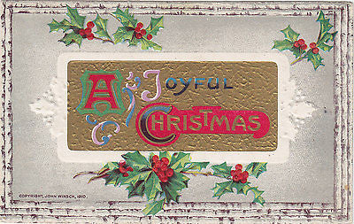 Beautiful Embossed Joyful Christmas John Winsch Postcard - Cakcollectibles