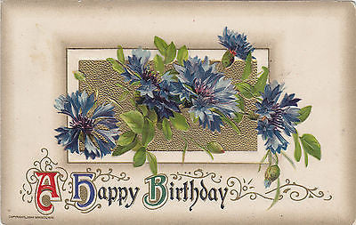 A Happy Birthday Blue Flower John Winsch Postcard - Cakcollectibles