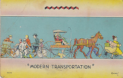 """Modern Transportation"" Linen Comic Postcard - Cakcollectibles - 1"