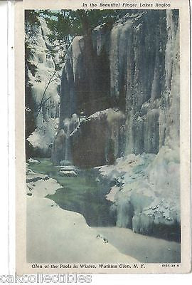 Glen of The Pools in Winter,Finger Lakes Region-Watkins Glen,New York 1949 - Cakcollectibles