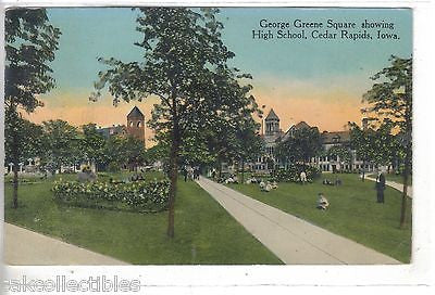 George Green Square showing High School-Cedar Rapids,Iowa 1914 - Cakcollectibles