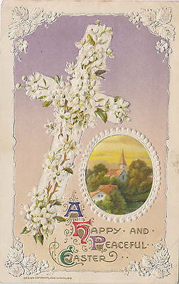 """ A Peaceful Easter"" Embossed John Winsch Postcard front"