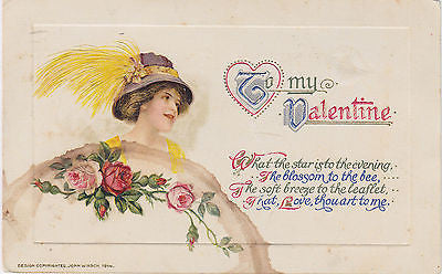 """To My Valentine"" John Winsch Postcard - Cakcollectibles - 1"