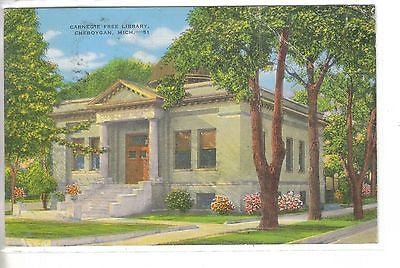 Carnegie Free Library-Cheboygan,Michigan 1950 - Cakcollectibles