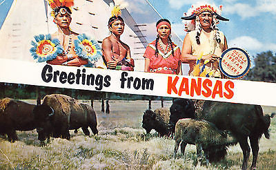 Greetings From Kansas Postcard - Cakcollectibles