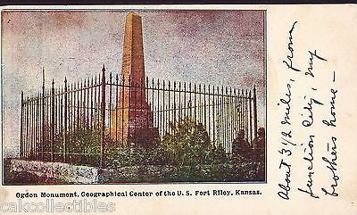 Ogden Monument,Geographical Center of The U.S.-Fort Riley,Kansas UDB - Cakcollectibles