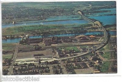 Aerial View of The International Bridge and Sault Ste. Marie,Michigan - Cakcollectibles - 1