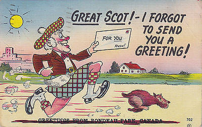 """I Forgot To Send You A Greeting!"" Linen Comic Postcard - Cakcollectibles - 1"