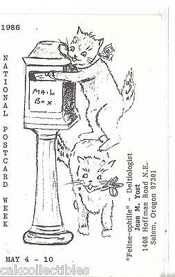 "National Post Card Week 1986 ""Feline-Ophille""-Deltiologist-Oregon - Cakcollectibles"