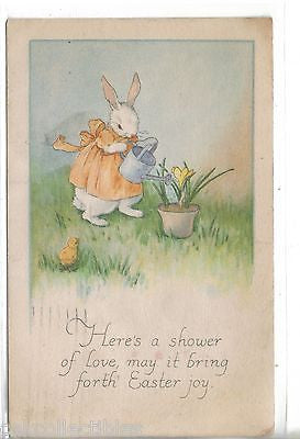 Easter Post Card-Dressed Rabbit watering Flowers 1921 - Cakcollectibles - 1