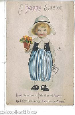 A Happy Easter-Boy Carrying Flower Pot-Clapsaddle - Cakcollectibles - 1
