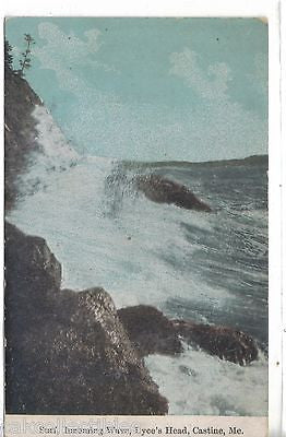 Surf,Incoming Wave,Dyce's Head-Castine,Maine 1912 - Cakcollectibles