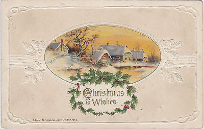Christmas Wishes Beautiful Embossed John Winsch Postcard - Cakcollectibles