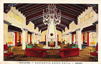 Edgewater Beach Hotel West Lounge Chicago Postcard - Cakcollectibles