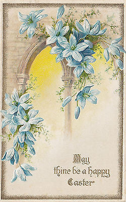 """May Thine Be A Happy Easter"" Blue Lily John Winsch Postcard - Cakcollectibles - 1"