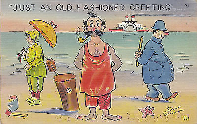"""Just An Old Fashioned Greeting"" Linen Comic Postcard - Cakcollectibles - 1"