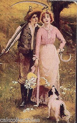 """First Love""-Man,Woman and Dog 1907 - Cakcollectibles"